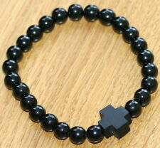 NEW SMALL ORTHODOX RUSSIAN BLACK NATURAL STONE AGAT WRISTBAND GOOD FOR KIDS
