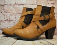 Womens New Look Tan Leather Pull On High Heel Ankle Boots UK 7 EUR 40