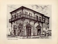 New Orleans Absinthe House of Many Memories Pencil Sketch Print R Misselhorn