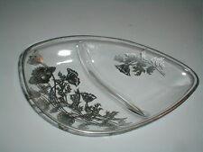 Silver City Glass Overlay FLANDERS Poppy Teardrop Relish/Candy Dish/Trinket Tray