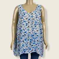 Torrid Sheer Blue Gray White Floral V-neck High Lo Swing Tank Top PLUS Size 4X