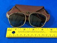 Antique Clip-On Aviator Sunglasses in Case Small VTG WWII Era Eyeglasses