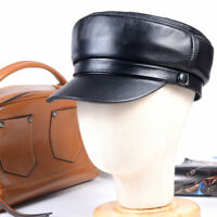 Women's Men's Genuine leather black military Flat cap newsboy Army hats/caps