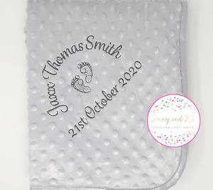 Personalised Baby Blanket, Grey Birth Details, Baby Feet, Embroidered Boy Girl