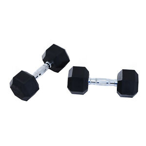 HOMCOM 2x5kg Hexagonal Rubber Dumbbell Sets Ergo Weight Fitness Gym Workout Pair