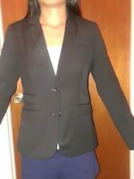 Gap Womens One Button Blazer Size 2 Black Collar V-neck Suit Jacket polyester