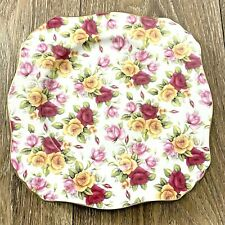 Royal Cotswolds Godinger English Traditional Square Plate 8 Inch Floral Pattern