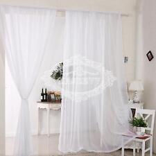 Pair (2 Panels) Of Voile Slot Top Net Curtains Plain Window Curtain Home Decor