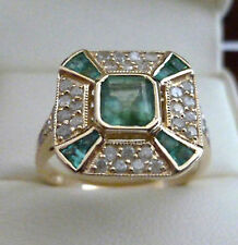 Art Deco 9ct 9k Solid Gold Emerald & Diamond Vintage Ring R63 Custom