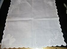 Antique Embroidered Linen Scone Warmer /Cover (Attached Butterflies)