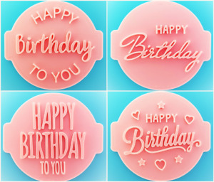 Happy Birthday Day Embosser / Stamp for Fondant, Cupcake, Cake, Cookie Cutter