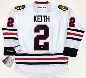 DUNCAN KEITH SIGNED CHICAGO BLACKHAWKS WHITE 2013 CUP JERSEY PSA/DNA