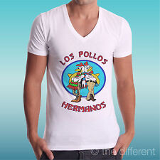 "T-SHIRT UOMO a V "" LOS POLLOS HERMANOS BREAKING BAD HEISENBERG "" IDEA REGALO"