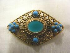 Vintage Goldtone Pin Blue Seed Beads Victorian Look
