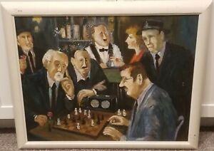 The Chess Match-Regionalist American Oil-1950's-Signed Hamilton-Nostalgic