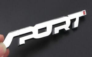 Sport Logo Badge Emblem in Silver Chrome Car Metal 3D Decal Accessory