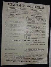 POLITIQUE MOUVEMENT NATIONAL POPULAIRE 1936 TRACT ANTI FRONT POPULAIRE
