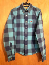 HOLLISTER Blue Plaid Button Up Shirt Size M 100% Cotton