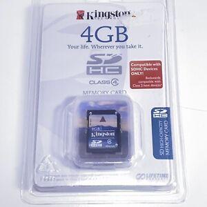 NEW SEALED KINGSTON 4GB SDHC FLASH MEMORY CARD SD4/4GB CLASS 4