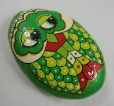 Kitsch Vintage Painted Pebble Paperweight Green Owl
