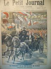 RUSSIE PETERHOF TSAR NICOLAS II ET PRESIDENT FELIX FAURE LE PETIT JOURNAL 1897