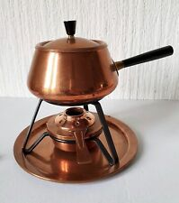 Vintage Mid 20Th Century Copper Fondue Set Made In Switzerland