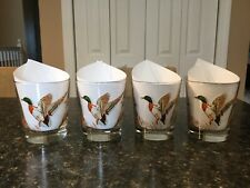 4 Vintage Mallard Duck Fowl Libbey Whiskey Low Ball Drinking Glasses Set Barware