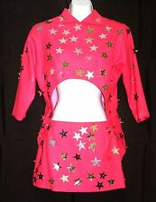 1980'S BARBIE & THE ROCKERS STYLE DANCER'S PINK OUTFIT SKIRT & TAILS HALLOWEEN