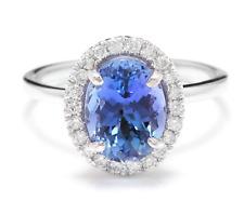 3.40 Carats NATURAL TANZANITE and DIAMOND 14K Solid White Gold Ring