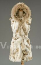 100% Real Genuine Rabbit Fur Long Vest Raccoon Trim Hoody Gilet Jacket Coat NEW!