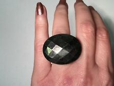 Designer Deb Guyot Faceted Pyrite & Onyx Carved Statement Ring Size 6.5
