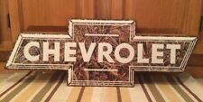 Chevrolet Bow Tie Logo Embossed Metal Camouflage Vintage Style Garage Man Cave