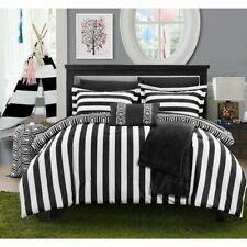 Twin XL Full Bed Bag Black White Stripe Geometric 10pc Comforter Sheet Throw Set