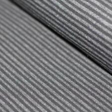 Nuevo Gris/Antracita 3 mm estiramiento Jersey Punto Elástico de Rayas 95% algodón/5% Lycra