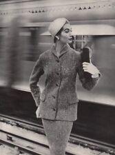 Women's fashion. Jacket. Train.. BRITISH VOGUE 1955 old vintage print picture