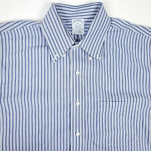 Brooks Brothers Classic Blue White Striped Mens Button Up Shirt Size 16.5