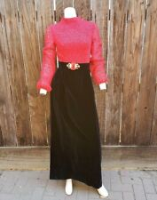Vintage 60's 70's Maxi Dress Red Black Lace Velvet Witchy Gypsy Jerell Texas S