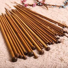 36Pcs 18 Sizes Single Point Carbonized Bamboo Knitting Needles Set Knit Craft SY