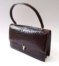True Vintage Ladies Brown Real Crocodile Skin Leather Handbag Bag 50s 60s Mod