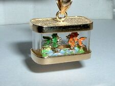 14K YELLOW GOLD MOVEABLE 3D FISH TANK AQUARIUM PENDANT CHARM