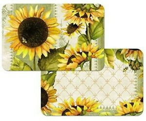 Sunflower in Bloom & Bees 2-Pc Placemats Reversible Washable Microban Plastic