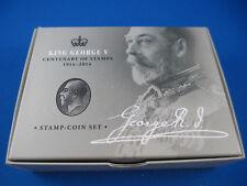 2014 King George V Centenary of Stamps 1/2oz Silver Proof Stamp-Coin Set. SUPERB