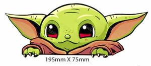 Peeping Baby Yoda Sticker - Decal - Truck 4X4 Car Window HQ Vinyl 195mm X 75mm