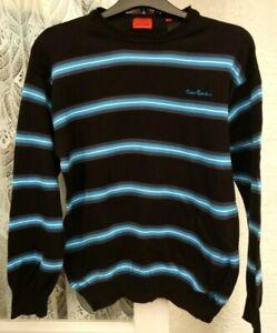 ( Ref 6295 ) Pierre Cardin Size L - Black & Blue Long Sleeve Round Neck Jumper