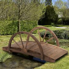More details for outsunny wooden garden bridge lawn décor  outdoor pond - 100l x 50w x 37hcm