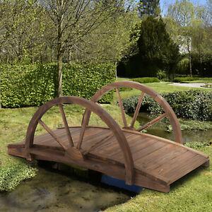 Outsunny Wooden Garden Bridge Lawn Décor  Outdoor Pond - 100L x 50W x 37Hcm