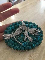 Handmade GENUINE TURQUOISE & Swarovski Crystal Belt Buckle VINTAGE BROACHES