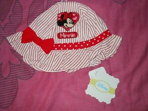 BNWT Girls Minnie Mouse Hat In Size Medium Up To 12 Months