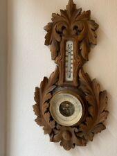 Alter Wandbarometer und Thermometer aus Holz