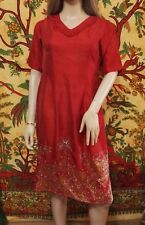 Handmade Unique Red Faux Silk & Gold Sequins Indian Tunic Dress Beach Cover M